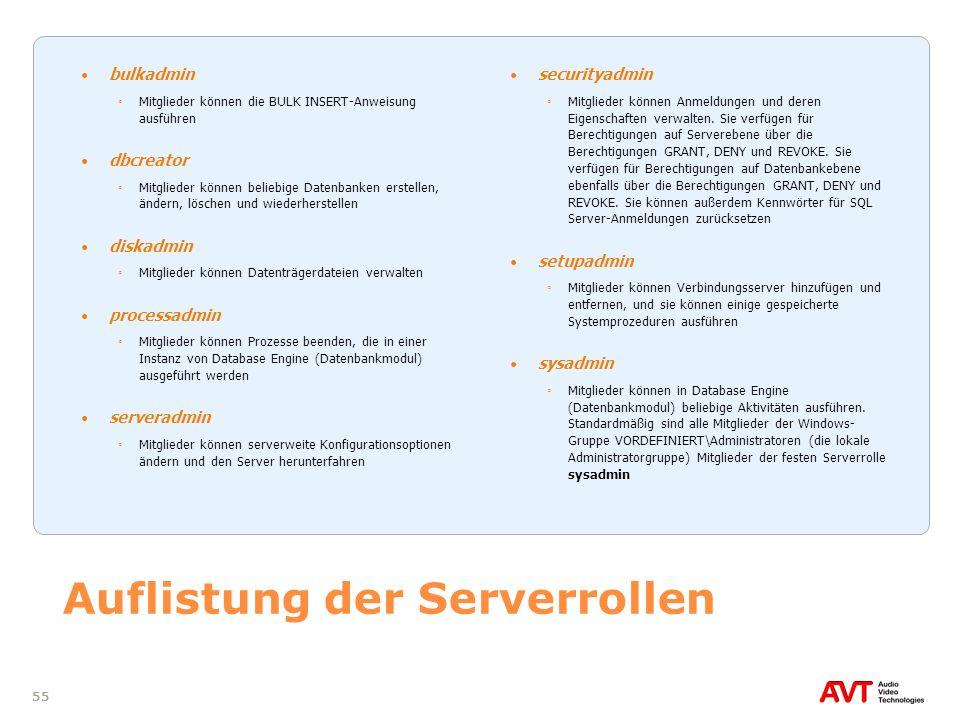 55 Auflistung der Serverrollen bulkadmin Mitglieder können die BULK INSERT-Anweisung ausführen dbcreator Mitglieder können beliebige Datenbanken erste