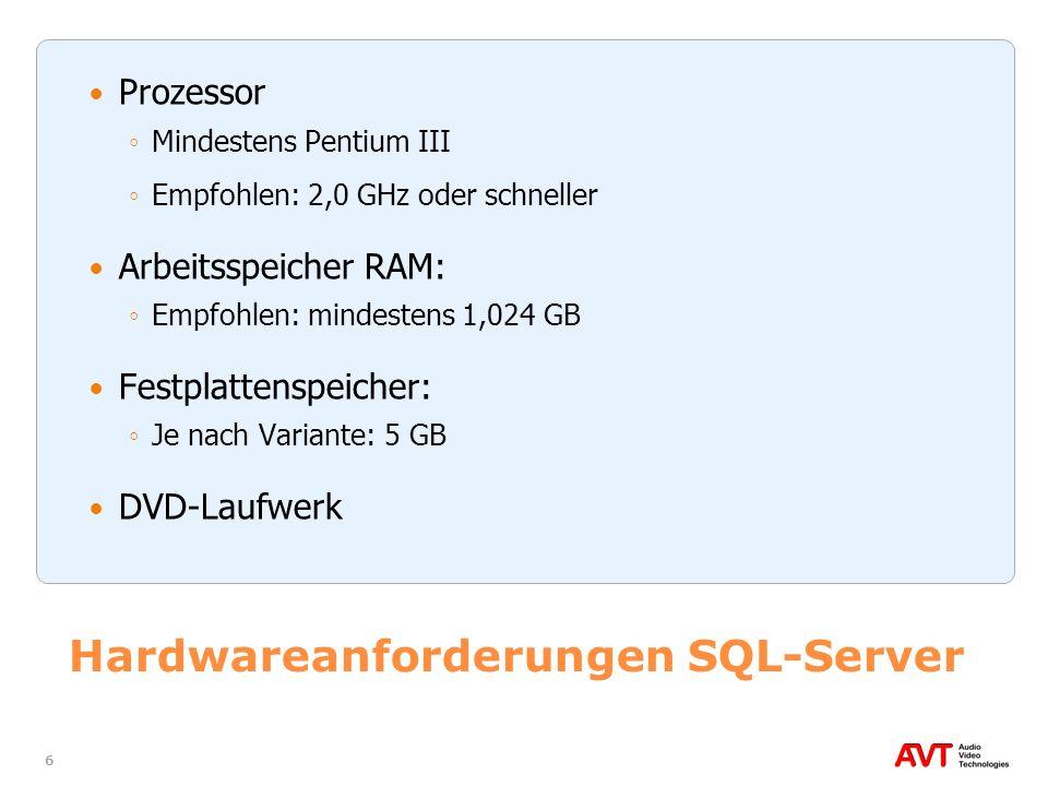 6 Hardwareanforderungen SQL-Server Prozessor Mindestens Pentium III Empfohlen: 2,0 GHz oder schneller Arbeitsspeicher RAM: Empfohlen: mindestens 1,024