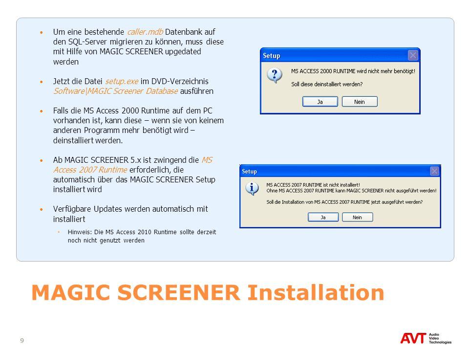 50 MAGIC TOUCH/ADMIN konfigurieren (2) Unter Driver z.B.
