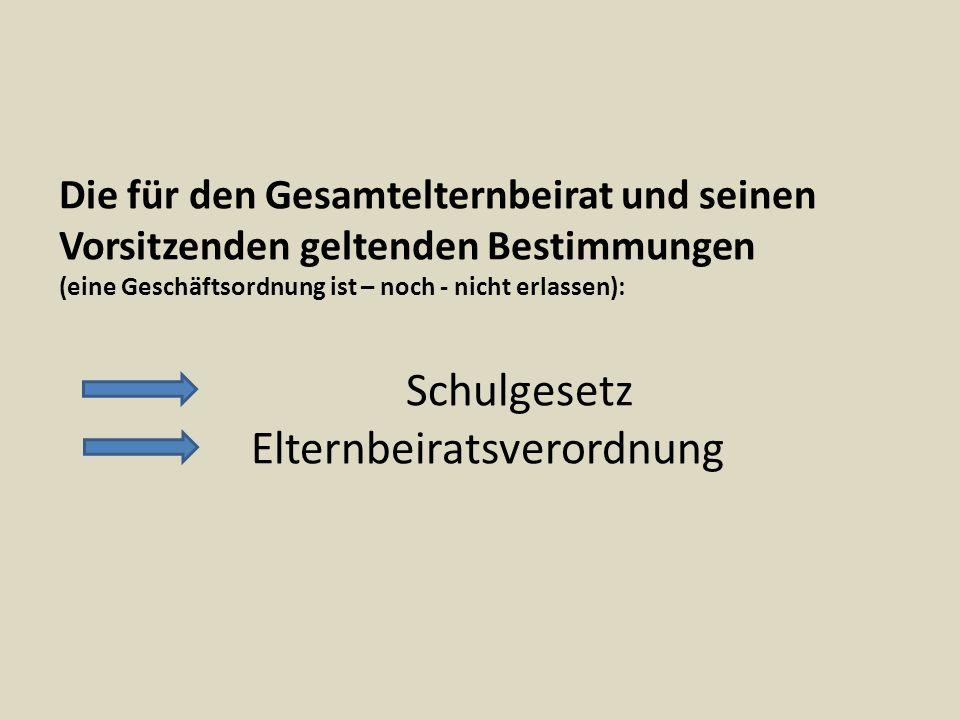 Schulgesetz Baden-Württemberg § 57: Elternbeirat (…)Im Rahmen seiner Aufgabe obliegt es dem Elternbeirat insbesondere (…) (7) Maßnahmen, die eine Erweiterung oder Einschränkung der Schule oder eine wesentliche Änderung ihres Lehrbetriebes wirken, zu beraten; dazu gehört auch die Änderung des Schultyps, die Teilung einer Schule oder ihre Zusammenlegung mit einer anderen Schule sowie die Durchführung von Schulversuchen.