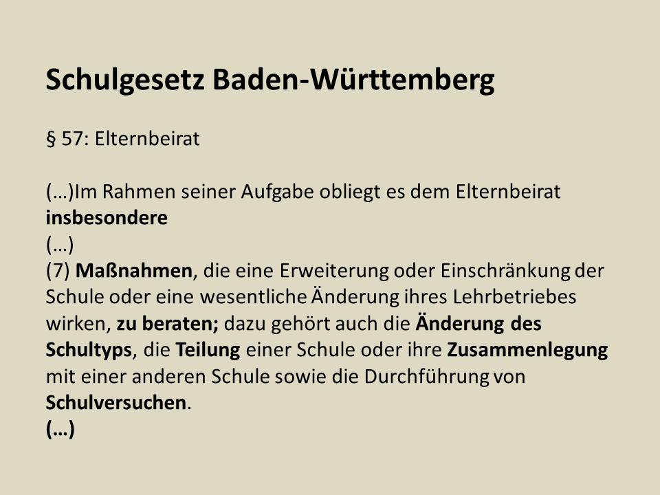 Schulgesetz Baden-Württemberg § 58: Gesamtelternbeirat, Arbeitskreise (1) Die Vorsitzenden und je ein stellvertretender Vorsitzender der Elternbeiräte aller Schulen eines Schulträgers bilden den Gesamtelternbeirat.