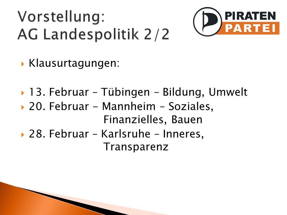Klausurtagungen: 13. Februar – Tübingen – Bildung, Umwelt 20. Februar - Mannheim – Soziales, Finanzielles, Bauen 28. Februar – Karlsruhe – Inneres, Tr