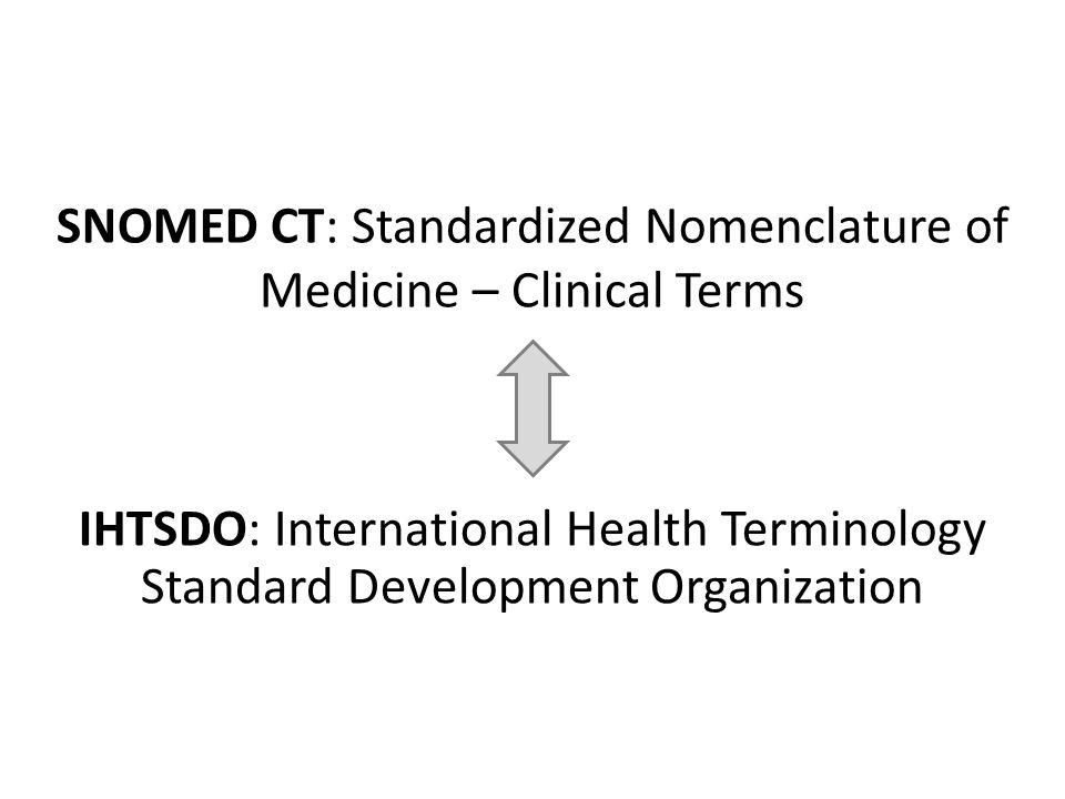 SNOMED CT: Standardized Nomenclature of Medicine – Clinical Terms IHTSDO: International Health Terminology Standard Development Organization