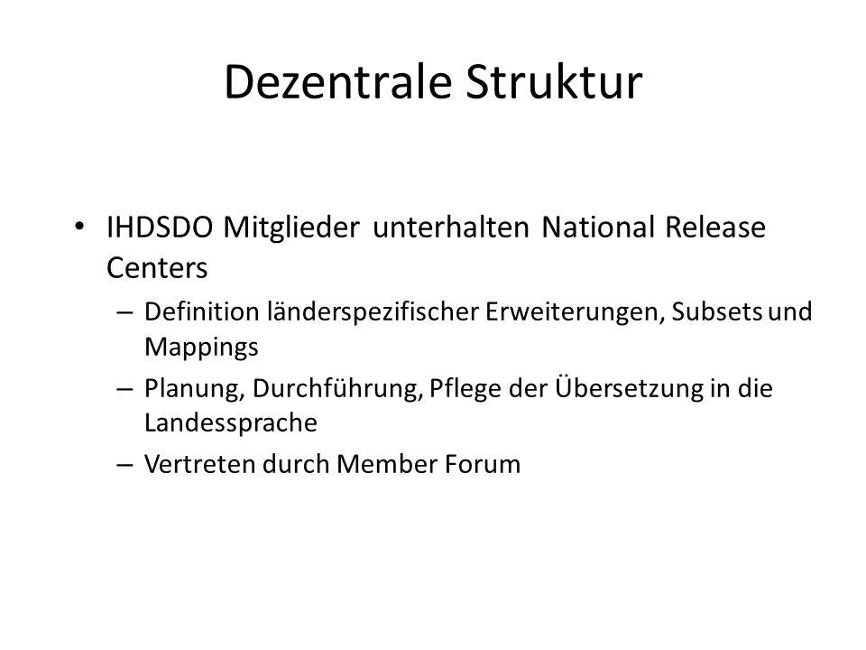 Dezentrale Struktur IHDSDO Mitglieder unterhalten National Release Centers – Definition länderspezifischer Erweiterungen, Subsets und Mappings – Planung, Durchführung, Pflege der Übersetzung in die Landessprache – Vertreten durch Member Forum