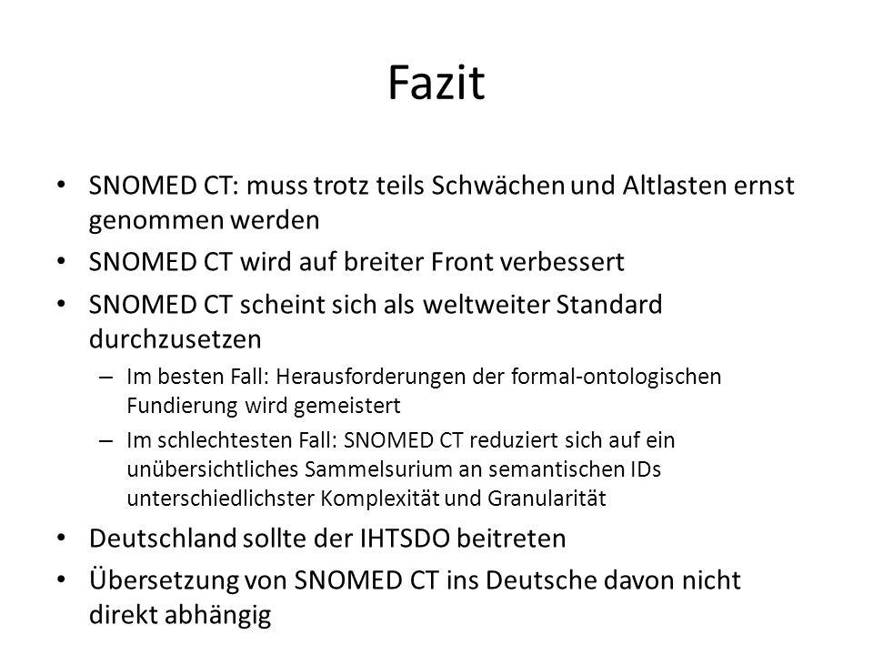Fazit SNOMED CT: muss trotz teils Schwächen und Altlasten ernst genommen werden SNOMED CT wird auf breiter Front verbessert SNOMED CT scheint sich als weltweiter Standard durchzusetzen – Im besten Fall: Herausforderungen der formal-ontologischen Fundierung wird gemeistert – Im schlechtesten Fall: SNOMED CT reduziert sich auf ein unübersichtliches Sammelsurium an semantischen IDs unterschiedlichster Komplexität und Granularität Deutschland sollte der IHTSDO beitreten Übersetzung von SNOMED CT ins Deutsche davon nicht direkt abhängig