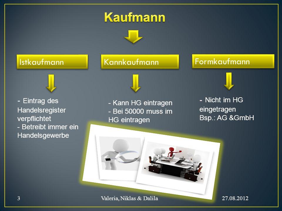 Istkaufmann - Eintrag des Handelsregister verpflichtet - Betreibt immer ein Handelsgewerbe Kannkaufmann - Kann HG eintragen - Bei 50000 muss im HG ein