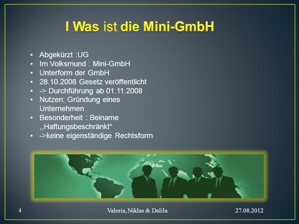 Abgekürzt :UG Im Volksmund : Mini-GmbH Unterform der GmbH 28.10.2008 Gesetz veröffentlicht -> Durchführung ab 01.11.2008 Nutzen: Gründung eines Untern