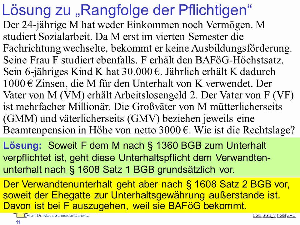 88Prof. Dr. Klaus Schneider-Danwitz BGB SGB_8 FGG ZPOBGBSGB_8FGGZPO 11 Lösung zu Rangfolge der Pflichtigen Der 24-jährige M hat weder Einkommen noch V