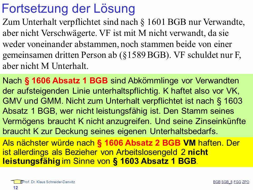88Prof. Dr. Klaus Schneider-Danwitz BGB SGB_8 FGG ZPOBGBSGB_8FGGZPO 12 Fortsetzung der Lösung Zum Unterhalt verpflichtet sind nach § 1601 BGB nur Verw