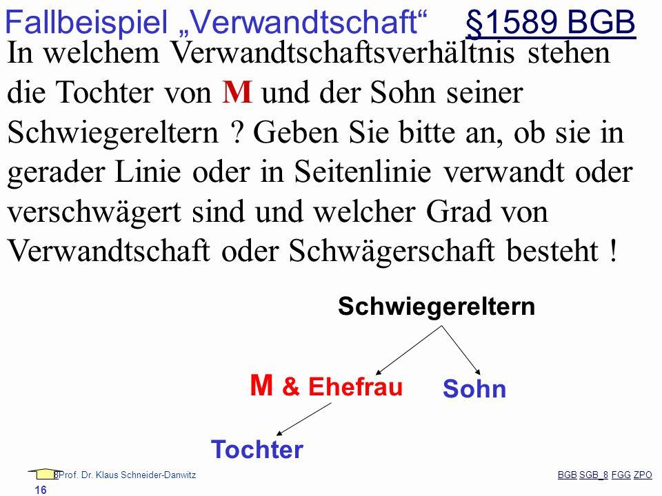 88Prof. Dr. Klaus Schneider-Danwitz BGB SGB_8 FGG ZPOBGBSGB_8FGGZPO 16 Fallbeispiel Verwandtschaft §1589 BGB§1589 BGB In welchem Verwandtschaftsverhäl
