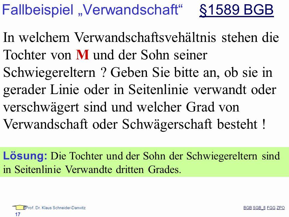 88Prof. Dr. Klaus Schneider-Danwitz BGB SGB_8 FGG ZPOBGBSGB_8FGGZPO 17 Fallbeispiel Verwandschaft §1589 BGB§1589 BGB In welchem Verwandschaftsvehältni