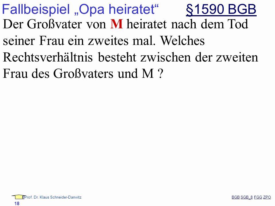 88Prof. Dr. Klaus Schneider-Danwitz BGB SGB_8 FGG ZPOBGBSGB_8FGGZPO 18 Fallbeispiel Opa heiratet §1590 BGB§1590 BGB Der Großvater von M heiratet nach