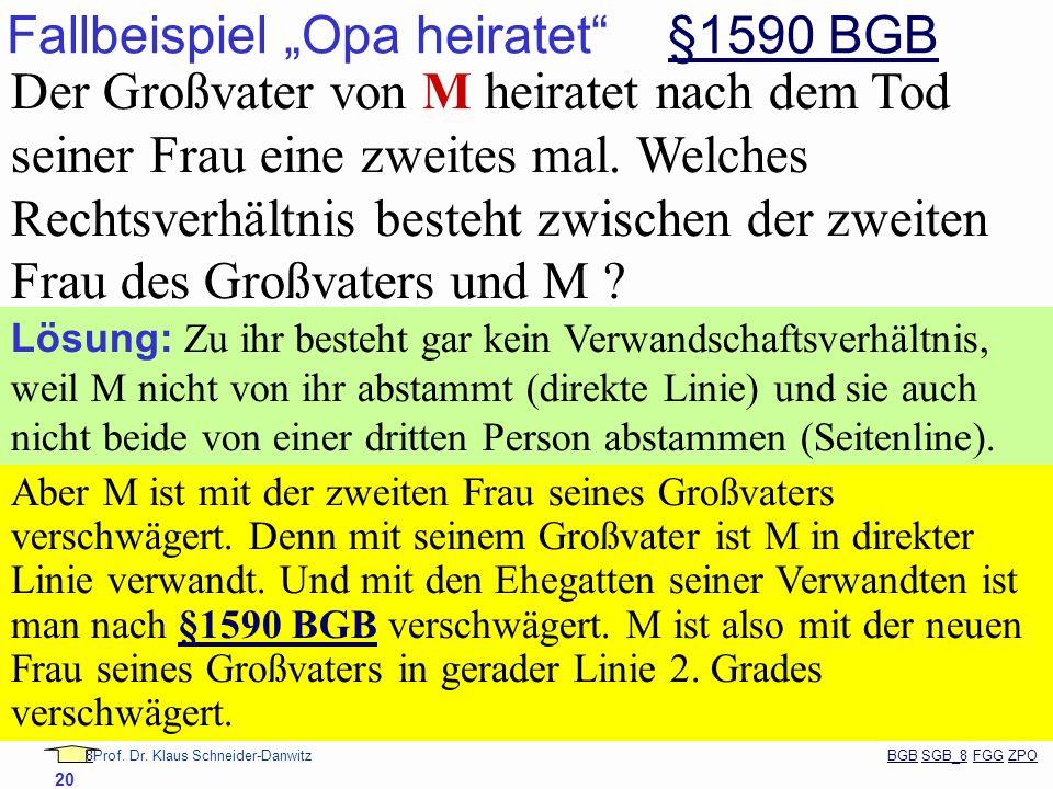 88Prof. Dr. Klaus Schneider-Danwitz BGB SGB_8 FGG ZPOBGBSGB_8FGGZPO 20 Fallbeispiel Opa heiratet §1590 BGB§1590 BGB Der Großvater von M heiratet nach