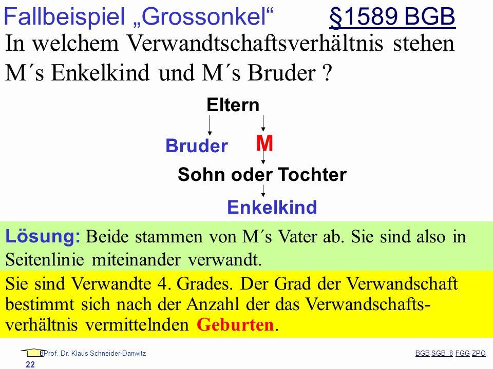 88Prof. Dr. Klaus Schneider-Danwitz BGB SGB_8 FGG ZPOBGBSGB_8FGGZPO 22 Fallbeispiel Grossonkel §1589 BGB§1589 BGB In welchem Verwandtschaftsverhältnis