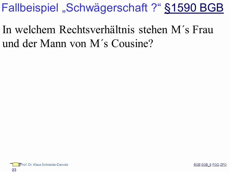 88Prof. Dr. Klaus Schneider-Danwitz BGB SGB_8 FGG ZPOBGBSGB_8FGGZPO 23 Fallbeispiel Schwägerschaft ? §1590 BGB§1590 BGB In welchem Rechtsverhältnis st