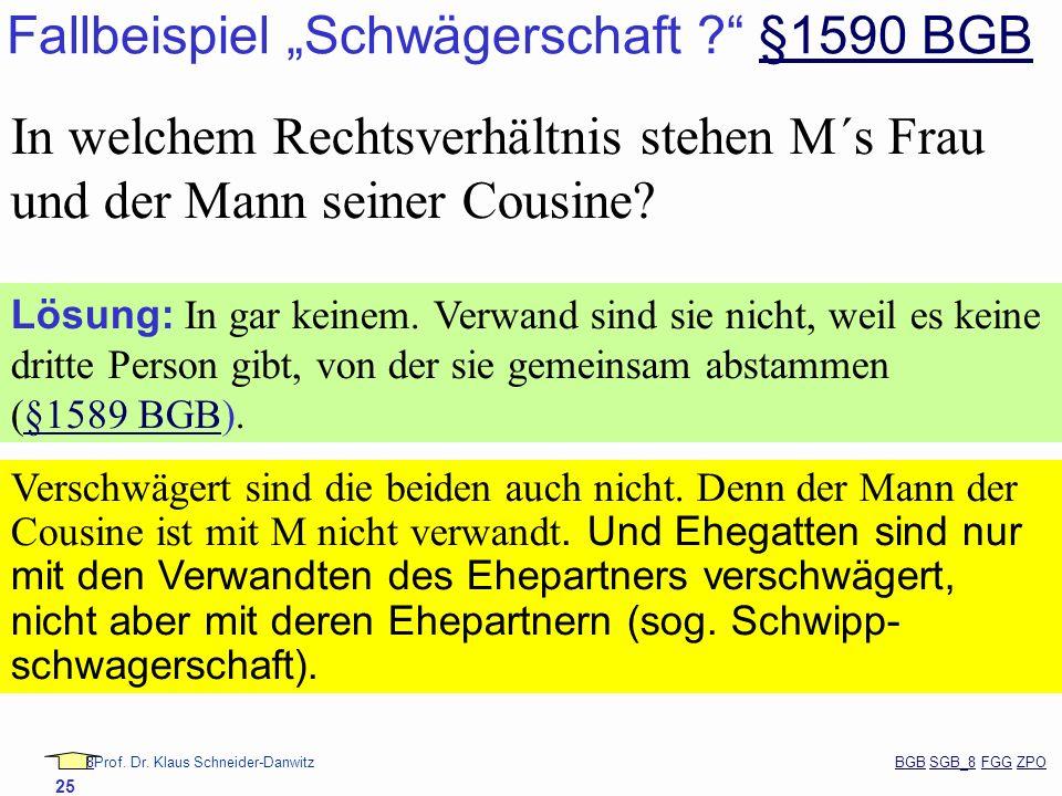 88Prof. Dr. Klaus Schneider-Danwitz BGB SGB_8 FGG ZPOBGBSGB_8FGGZPO 25 Fallbeispiel Schwägerschaft ? §1590 BGB§1590 BGB In welchem Rechtsverhältnis st