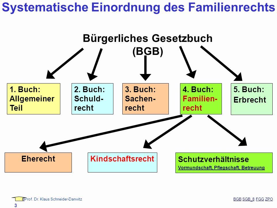 88Prof. Dr. Klaus Schneider-Danwitz BGB SGB_8 FGG ZPOBGBSGB_8FGGZPO 3 1. Buch: Allgemeiner Teil 2. Buch: Schuld- recht 3. Buch: Sachen- recht 4. Buch: