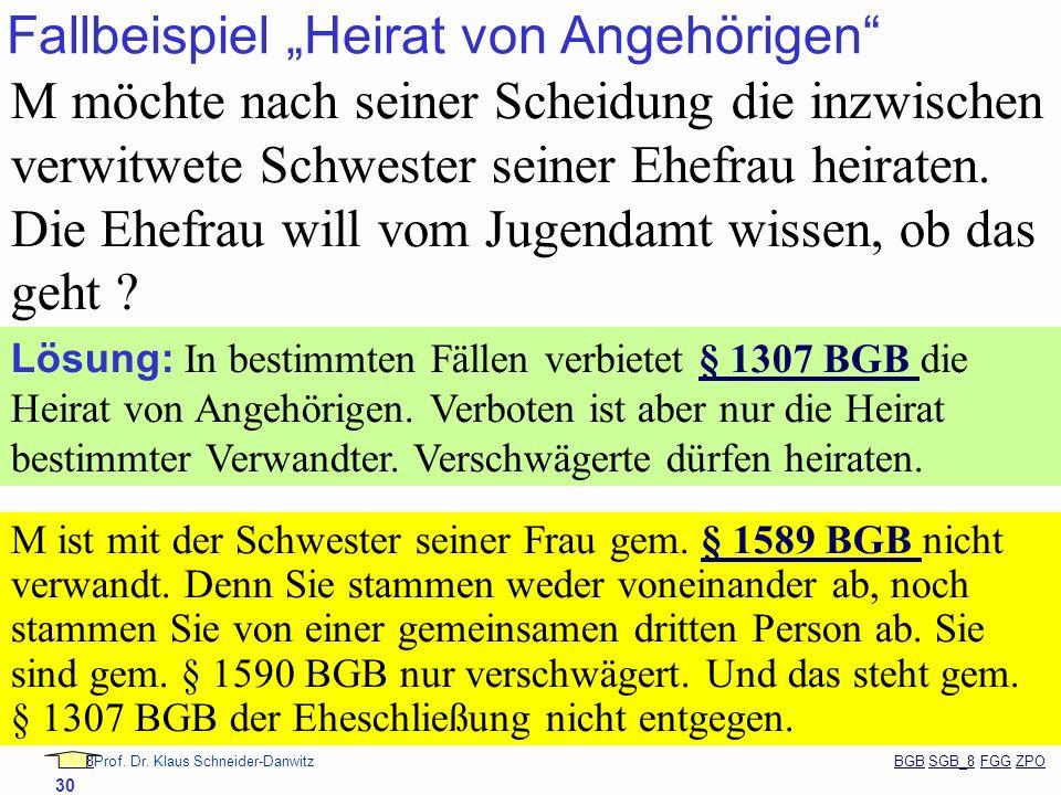 88Prof. Dr. Klaus Schneider-Danwitz BGB SGB_8 FGG ZPOBGBSGB_8FGGZPO 30 Fallbeispiel Heirat von Angehörigen M möchte nach seiner Scheidung die inzwisch
