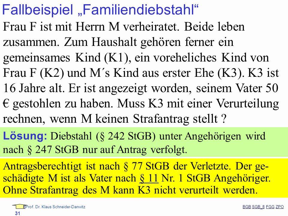 88Prof. Dr. Klaus Schneider-Danwitz BGB SGB_8 FGG ZPOBGBSGB_8FGGZPO 31 Fallbeispiel Familiendiebstahl Frau F ist mit Herrn M verheiratet. Beide leben