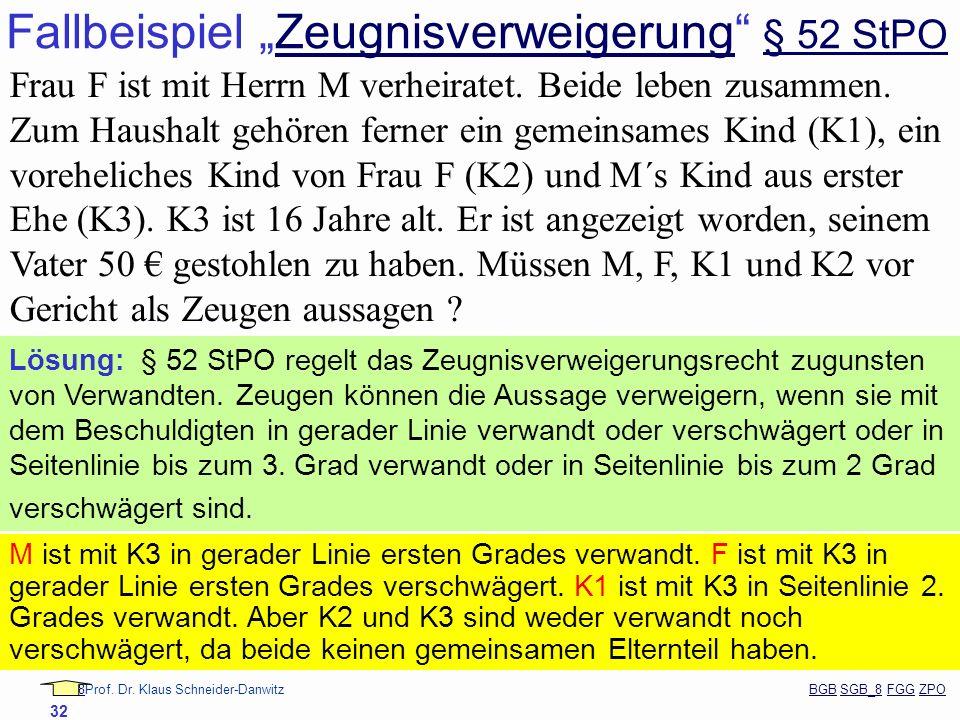 88Prof. Dr. Klaus Schneider-Danwitz BGB SGB_8 FGG ZPOBGBSGB_8FGGZPO 32 Fallbeispiel Zeugnisverweigerung § 52 StPOZeugnisverweigerung § 52 StPO Frau F