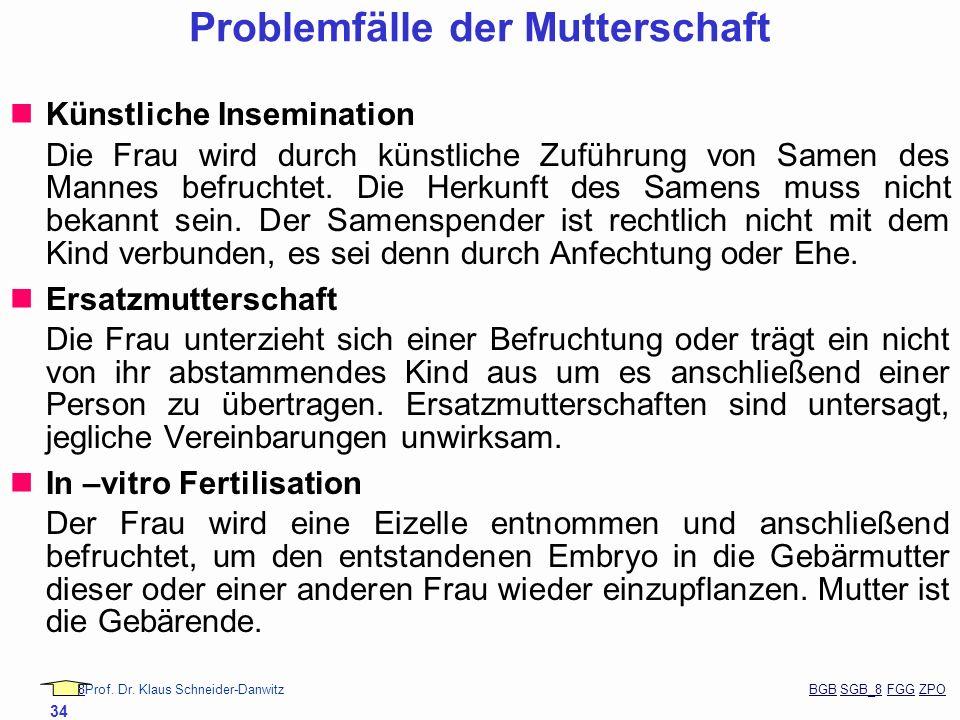 88Prof. Dr. Klaus Schneider-Danwitz BGB SGB_8 FGG ZPOBGBSGB_8FGGZPO 34 Problemfälle der Mutterschaft Künstliche Insemination Die Frau wird durch künst