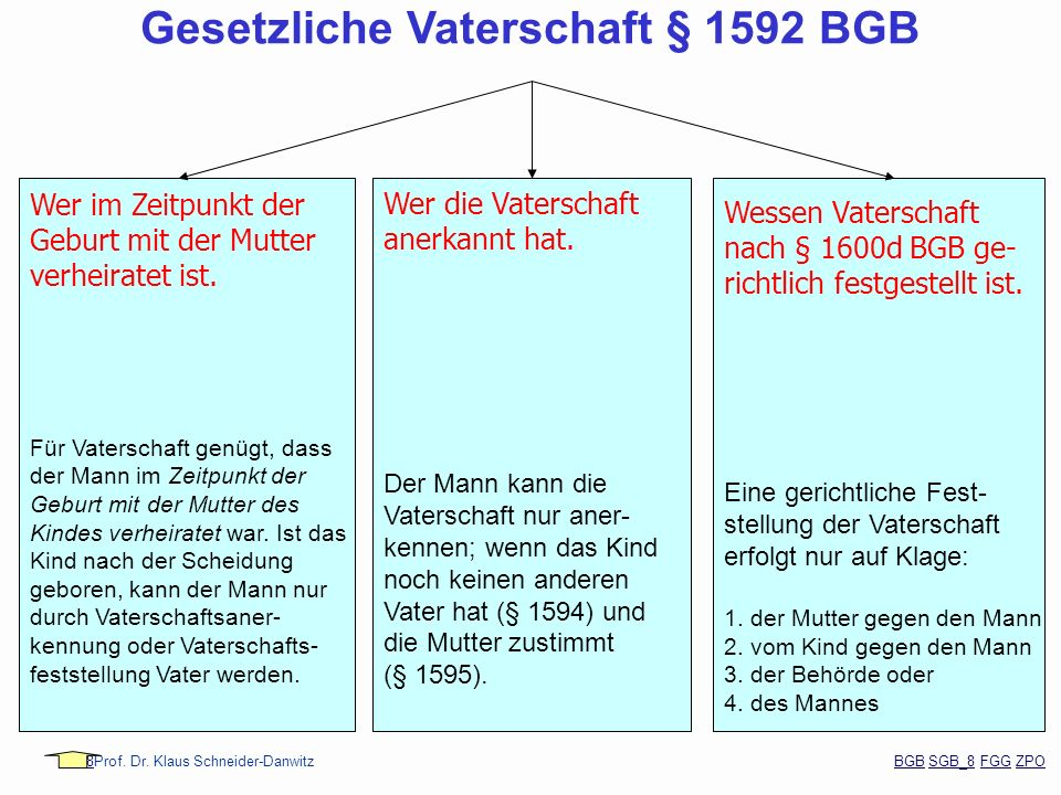 88Prof. Dr. Klaus Schneider-Danwitz BGB SGB_8 FGG ZPOBGBSGB_8FGGZPO Wer im Zeitpunkt der Geburt mit der Mutter verheiratet ist. Für Vaterschaft genügt