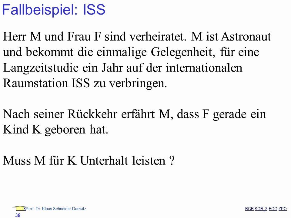 88Prof. Dr. Klaus Schneider-Danwitz BGB SGB_8 FGG ZPOBGBSGB_8FGGZPO 38 Fallbeispiel: ISS Herr M und Frau F sind verheiratet. M ist Astronaut und bekom