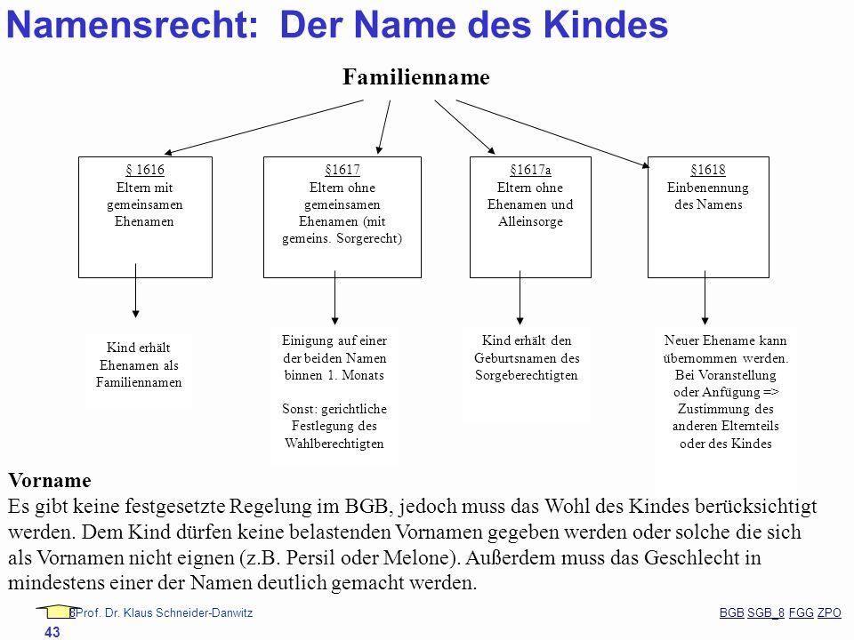 88Prof. Dr. Klaus Schneider-Danwitz BGB SGB_8 FGG ZPOBGBSGB_8FGGZPO 43 § 1616 Eltern mit gemeinsamen Ehenamen §1617 Eltern ohne gemeinsamen Ehenamen (