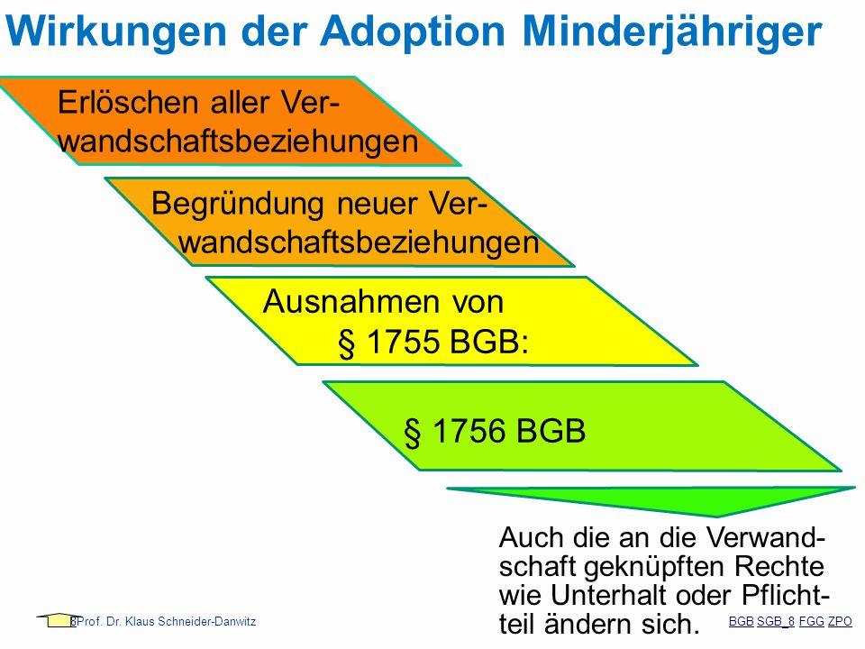 88Prof. Dr. Klaus Schneider-Danwitz BGB SGB_8 FGG ZPOBGBSGB_8FGGZPO Wirkungen der Adoption Minderjähriger Erlöschen aller Ver- wandschaftsbeziehungen