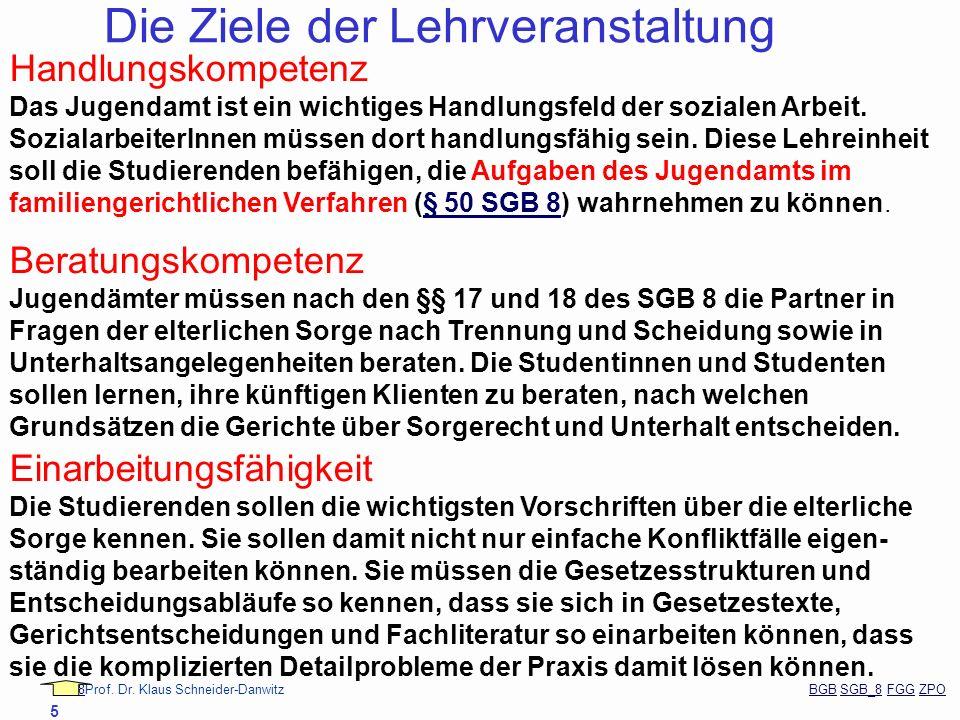 88Prof. Dr. Klaus Schneider-Danwitz BGB SGB_8 FGG ZPOBGBSGB_8FGGZPO 5 Die Ziele der Lehrveranstaltung Handlungskompetenz Das Jugendamt ist ein wichtig