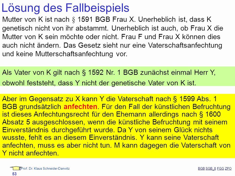 88Prof. Dr. Klaus Schneider-Danwitz BGB SGB_8 FGG ZPOBGBSGB_8FGGZPO 53 Lösung des Fallbeispiels Mutter von K ist nach § 1591 BGB Frau X. Unerheblich i