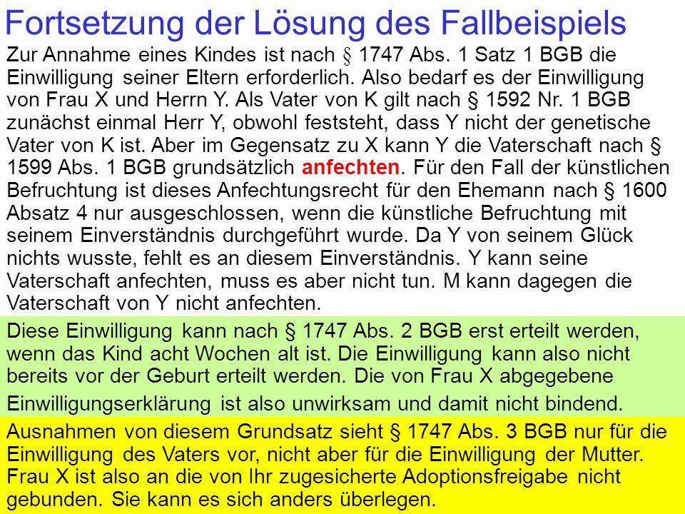 88Prof. Dr. Klaus Schneider-Danwitz BGB SGB_8 FGG ZPOBGBSGB_8FGGZPO 54 Fortsetzung der Lösung des Fallbeispiels Zur Annahme eines Kindes ist nach § 17