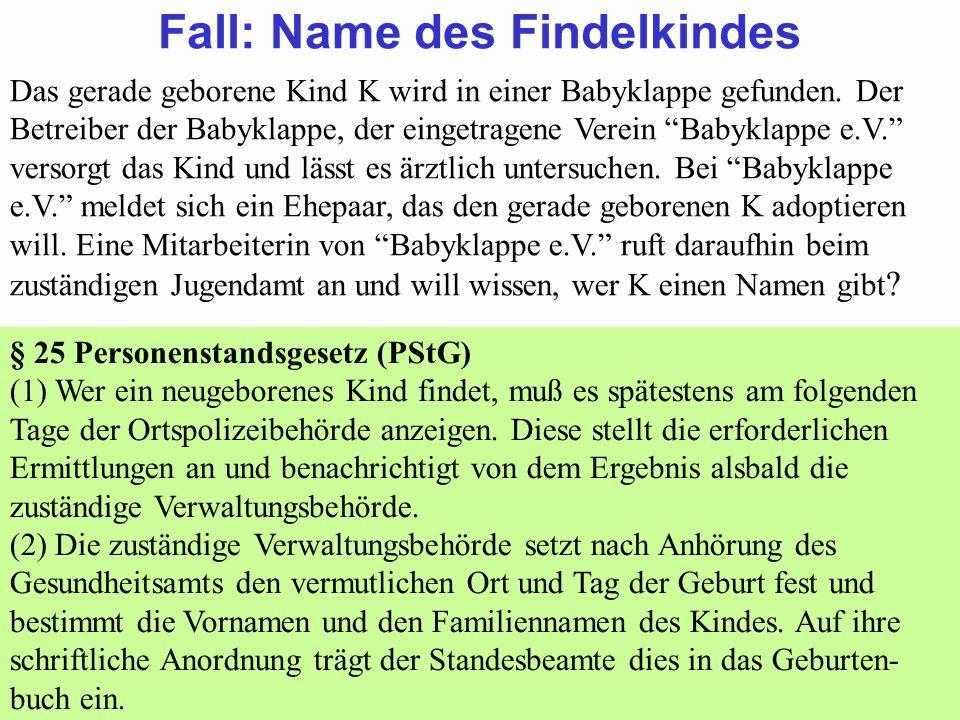 88Prof. Dr. Klaus Schneider-Danwitz BGB SGB_8 FGG ZPOBGBSGB_8FGGZPO 57 Fall: Name des Findelkindes Das gerade geborene Kind K wird in einer Babyklappe