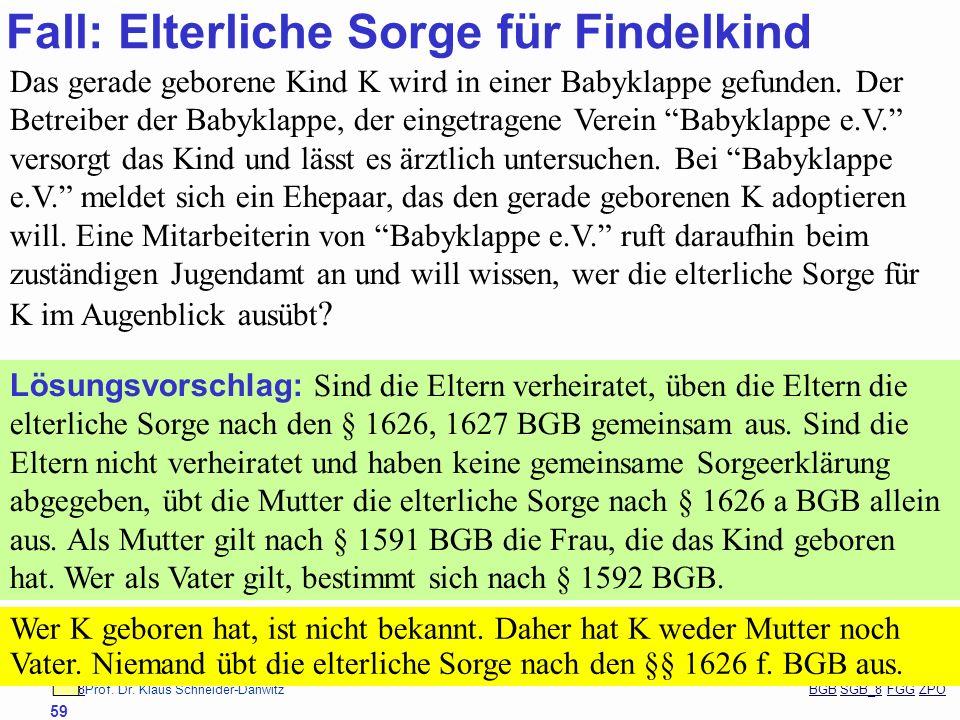 88Prof. Dr. Klaus Schneider-Danwitz BGB SGB_8 FGG ZPOBGBSGB_8FGGZPO 59 Fall: Elterliche Sorge für Findelkind Das gerade geborene Kind K wird in einer