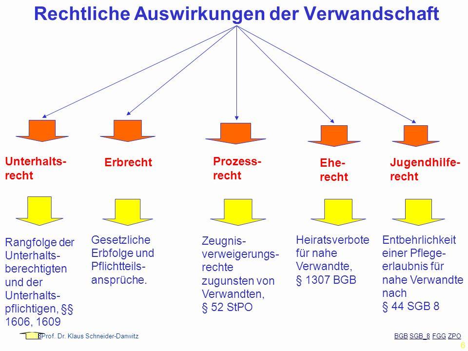 88Prof. Dr. Klaus Schneider-Danwitz BGB SGB_8 FGG ZPOBGBSGB_8FGGZPO 6 Rechtliche Auswirkungen der Verwandschaft Unterhalts- recht Erbrecht Ehe- recht