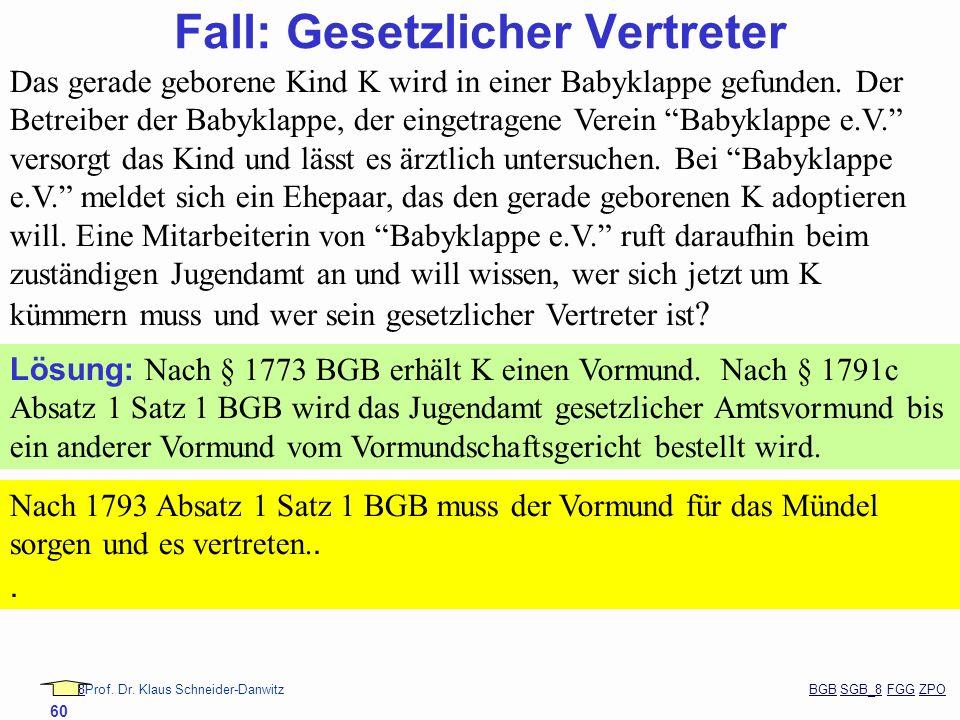 88Prof. Dr. Klaus Schneider-Danwitz BGB SGB_8 FGG ZPOBGBSGB_8FGGZPO 60 Fall: Gesetzlicher Vertreter Das gerade geborene Kind K wird in einer Babyklapp