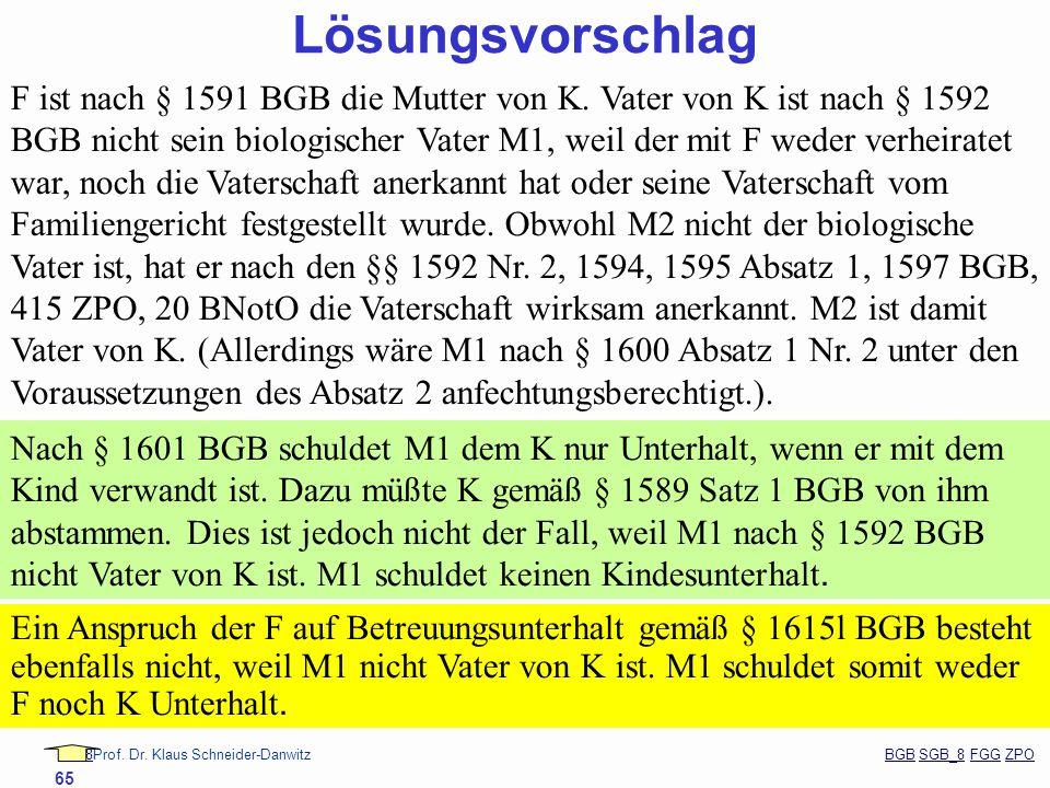 88Prof. Dr. Klaus Schneider-Danwitz BGB SGB_8 FGG ZPOBGBSGB_8FGGZPO 65 Lösungsvorschlag F ist nach § 1591 BGB die Mutter von K. Vater von K ist nach §