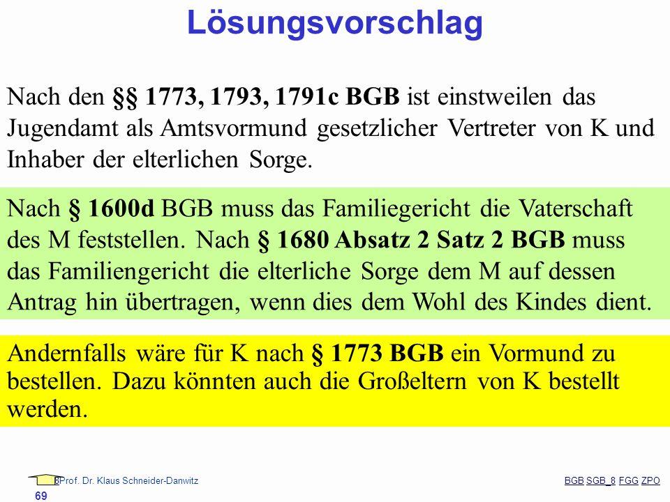 88Prof. Dr. Klaus Schneider-Danwitz BGB SGB_8 FGG ZPOBGBSGB_8FGGZPO 69 Lösungsvorschlag Nach den §§ 1773, 1793, 1791c BGB ist einstweilen das Jugendam