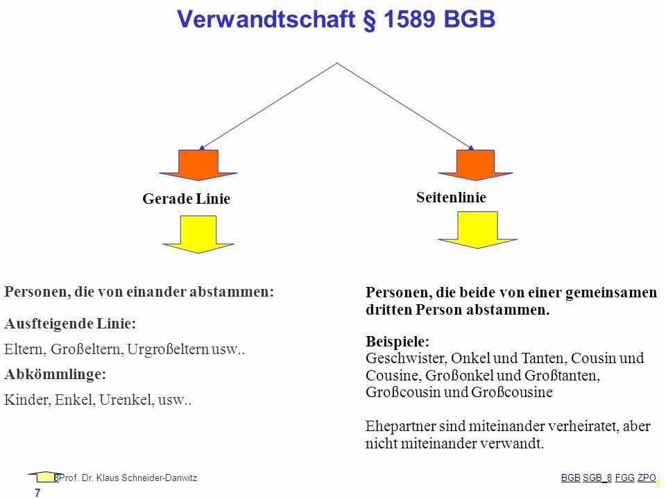 88Prof. Dr. Klaus Schneider-Danwitz BGB SGB_8 FGG ZPOBGBSGB_8FGGZPO 7 7 Verwandtschaft § 1589 BGB Gerade Linie Seitenlinie Personen, die von einander