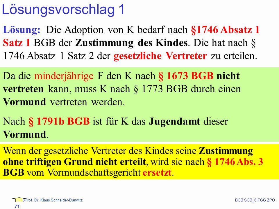 88Prof. Dr. Klaus Schneider-Danwitz BGB SGB_8 FGG ZPOBGBSGB_8FGGZPO 71 Lösungsvorschlag 1 Lösung: Die Adoption von K bedarf nach §1746 Absatz 1 Satz 1