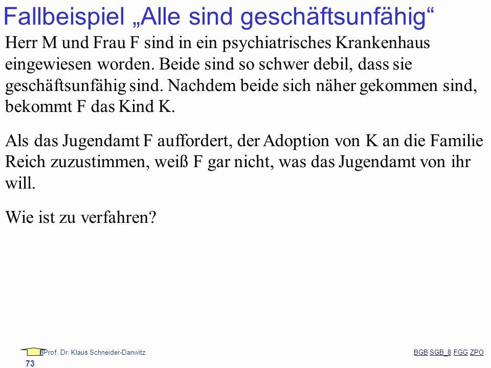 88Prof. Dr. Klaus Schneider-Danwitz BGB SGB_8 FGG ZPOBGBSGB_8FGGZPO 73 Fallbeispiel Alle sind geschäftsunfähig Herr M und Frau F sind in ein psychiatr