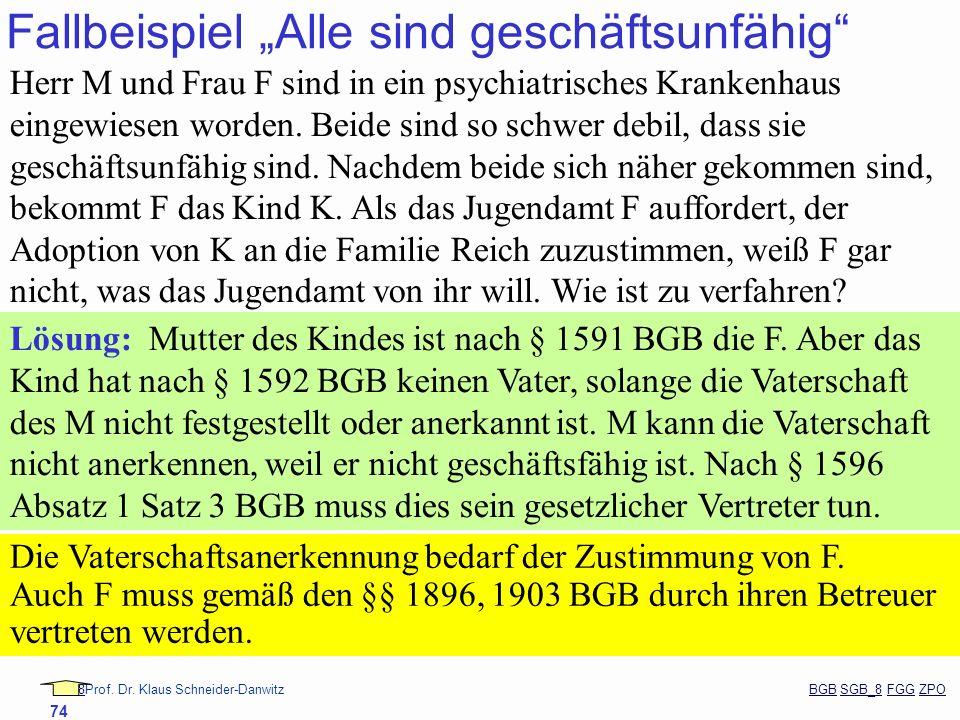 88Prof. Dr. Klaus Schneider-Danwitz BGB SGB_8 FGG ZPOBGBSGB_8FGGZPO 74 Fallbeispiel Alle sind geschäftsunfähig Herr M und Frau F sind in ein psychiatr