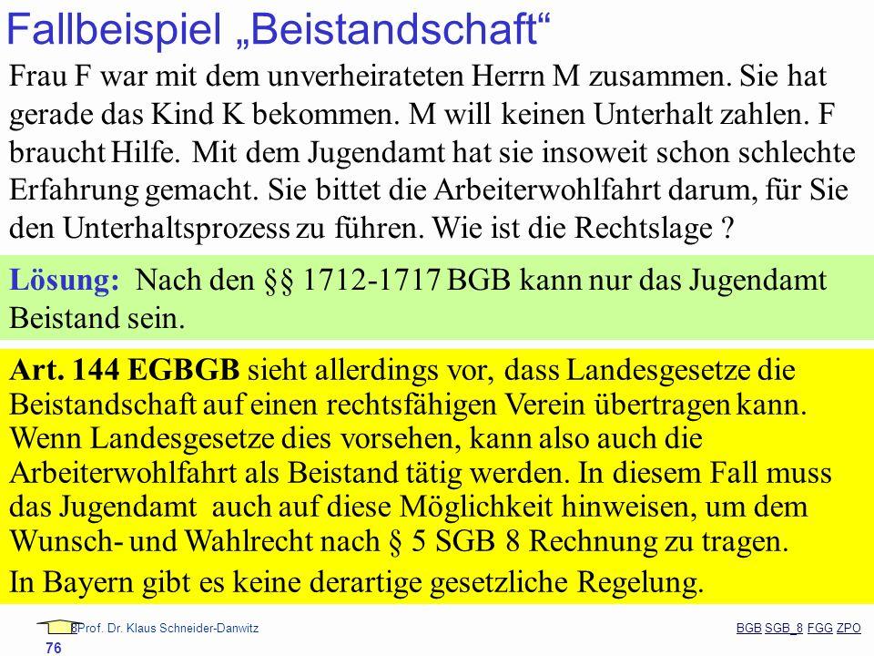 88Prof. Dr. Klaus Schneider-Danwitz BGB SGB_8 FGG ZPOBGBSGB_8FGGZPO 76 Fallbeispiel Beistandschaft Frau F war mit dem unverheirateten Herrn M zusammen