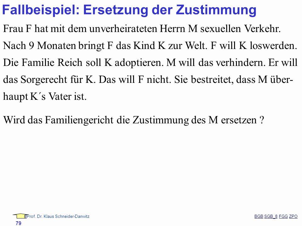 88Prof. Dr. Klaus Schneider-Danwitz BGB SGB_8 FGG ZPOBGBSGB_8FGGZPO 79 Fallbeispiel: Ersetzung der Zustimmung Frau F hat mit dem unverheirateten Herrn