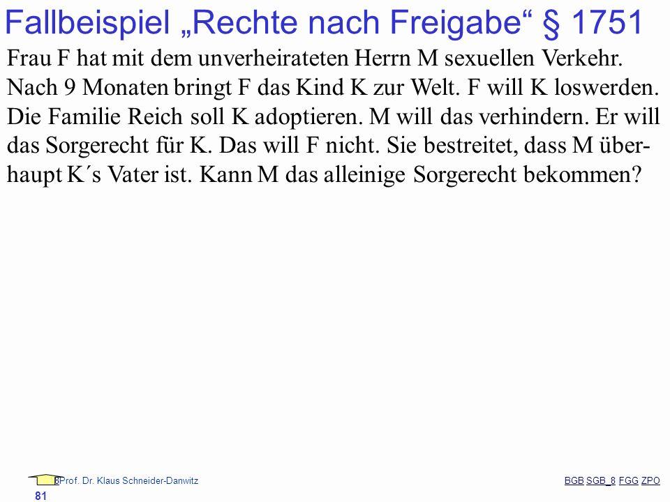 88Prof. Dr. Klaus Schneider-Danwitz BGB SGB_8 FGG ZPOBGBSGB_8FGGZPO 81 Fallbeispiel Rechte nach Freigabe § 1751 Frau F hat mit dem unverheirateten Her