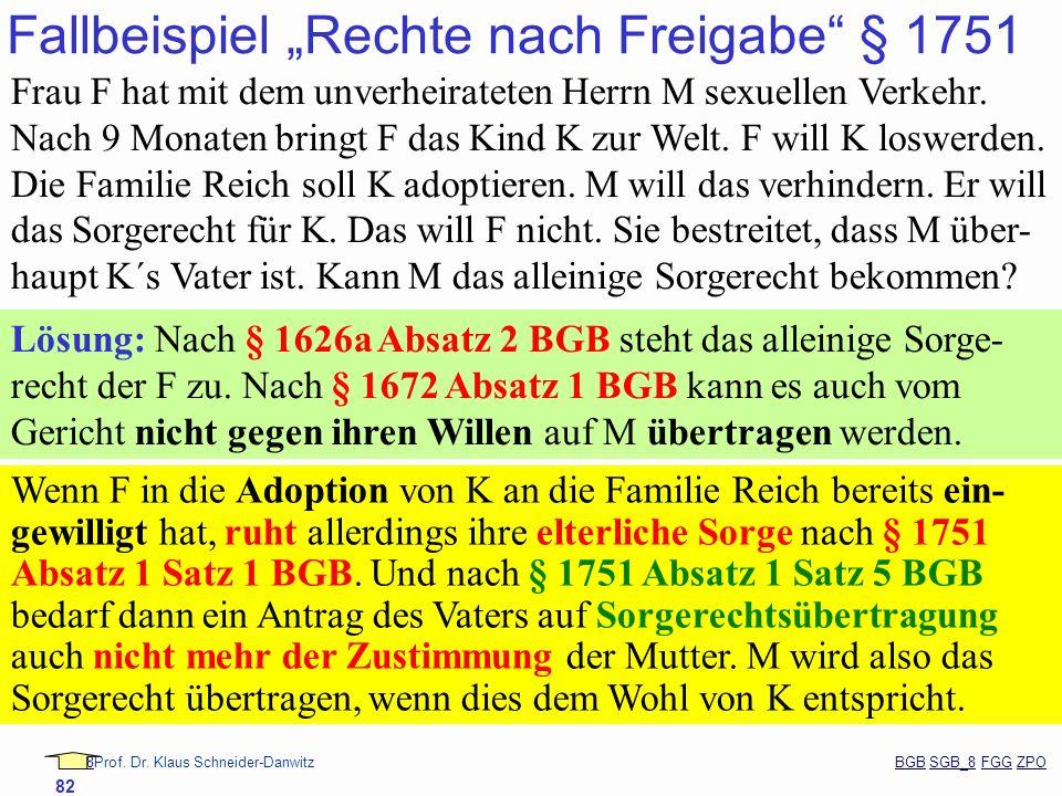 88Prof. Dr. Klaus Schneider-Danwitz BGB SGB_8 FGG ZPOBGBSGB_8FGGZPO 82 Fallbeispiel Rechte nach Freigabe § 1751 Frau F hat mit dem unverheirateten Her