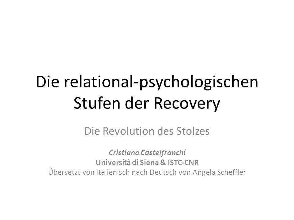 Stolz im Verlauf der Recovery Zwei Arten/Praxisanwendungen oder besser unterschiedliche (aber konvergente) Rollen des Stolzes in der Recovery, die dessen Bedeutung erklären: (i)identitärer Stolz: positive Akzeptanz des Unterschiedes, Zugehörigkeitsgefühl, Besonderheit, Abwehr des Stigmas….Ich bin was wert!; Wir sind was wert.