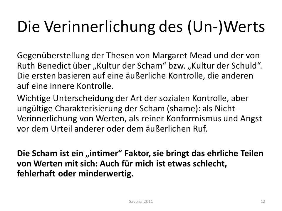 Die Verinnerlichung des (Un-)Werts Gegenüberstellung der Thesen von Margaret Mead und der von Ruth Benedict über Kultur der Scham bzw. Kultur der Schu