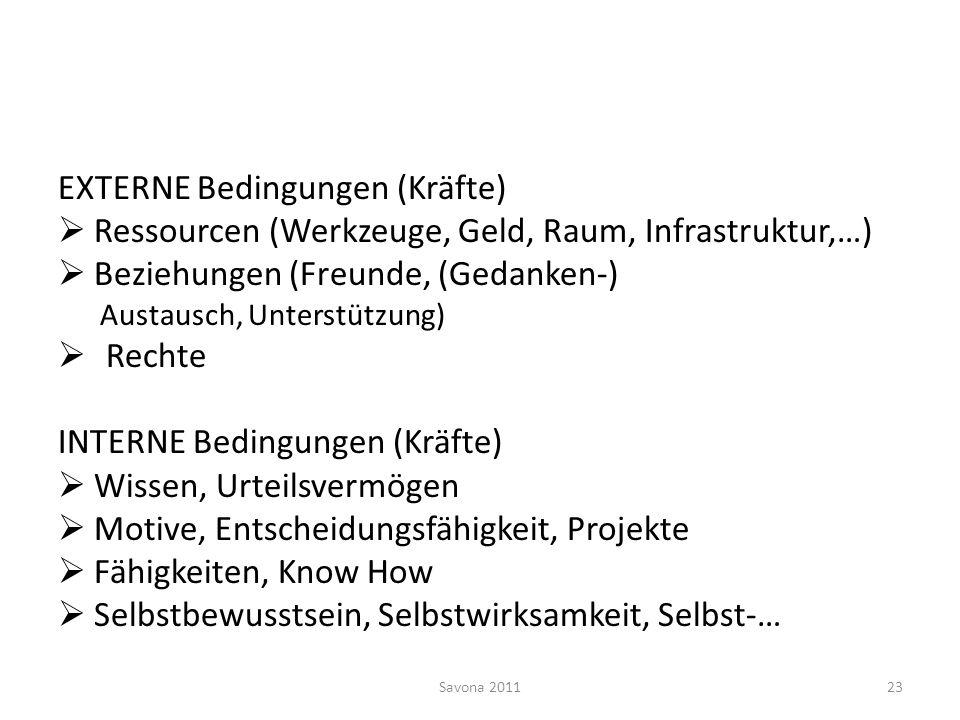 EXTERNE Bedingungen (Kräfte) Ressourcen (Werkzeuge, Geld, Raum, Infrastruktur,…) Beziehungen (Freunde, (Gedanken-) Austausch, Unterstützung) Rechte IN