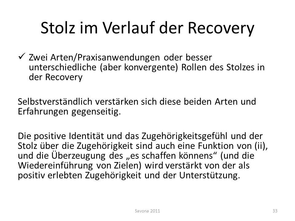 Stolz im Verlauf der Recovery Zwei Arten/Praxisanwendungen oder besser unterschiedliche (aber konvergente) Rollen des Stolzes in der Recovery Selbstve